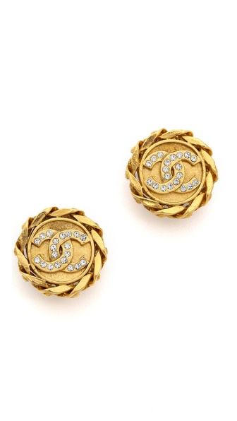What Goes Around Comes Around Vintage Chanel Clip On Rhinestone Earrings