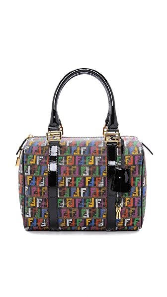 What Goes Around Comes Around Fendi Multicolor Logo Boston Bag