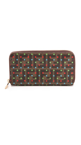 What Goes Around Comes Around Fendi Zucca Dotted Zip Wallet