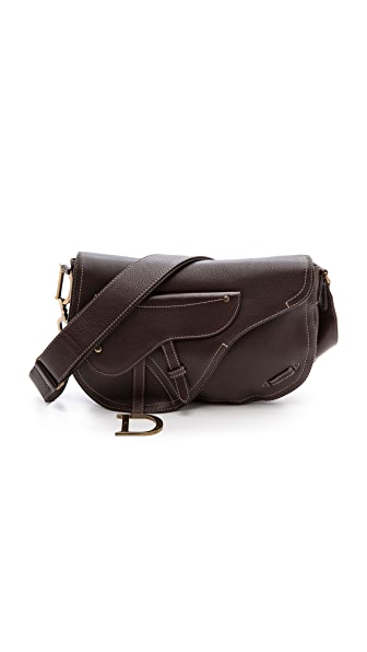 What Goes Around Comes Around Dior Leather Saddle Bag - Brown