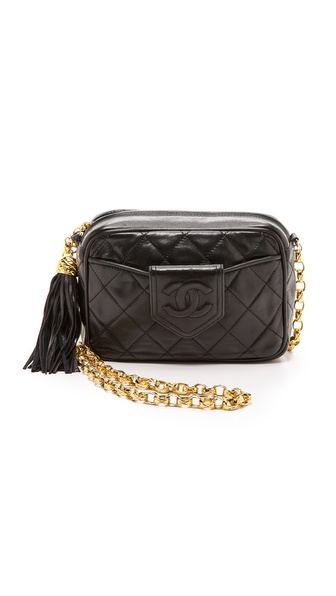 What Goes Around Comes Around Chanel Camera Bag With Tassel - Black