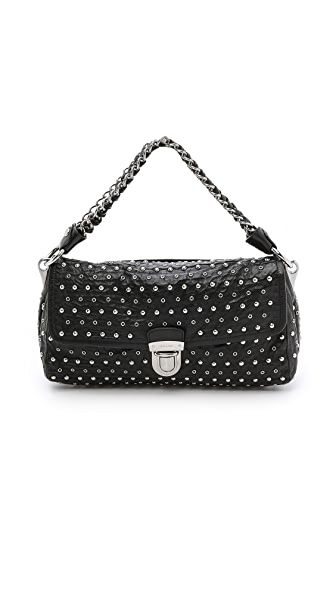 Prada Prada Prada Studded Shoulder Bag (Black)