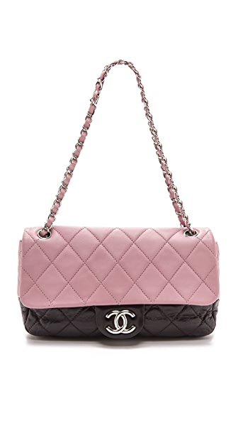 Chanel Chanel Chanel Two Tone Half Flap Bag (Violet)