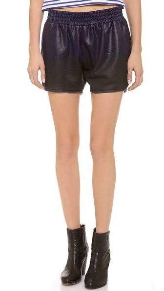 Whetherly Rita Coated Track Shorts - Blue/Black at Shopbop