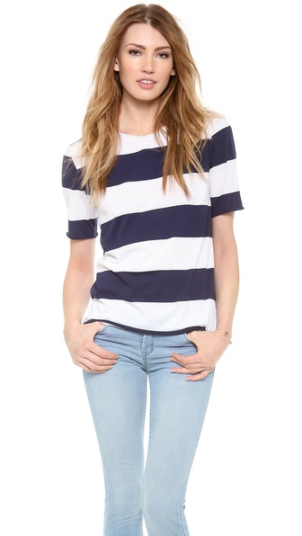 Whetherly Raw Evan Tee - Navy/White at Shopbop / East Dane