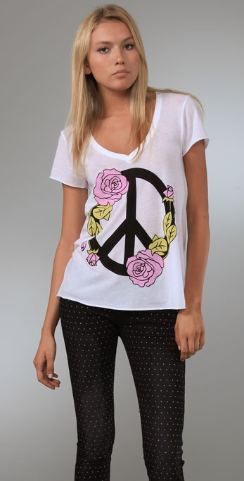 Wildfox Peace Roses V Neck Tee