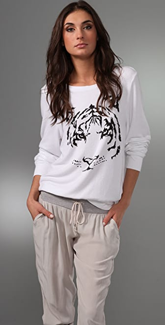 Wildfox Tiger Baggy Beach Sweatshirt
