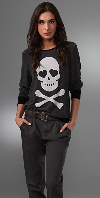 Wildfox Love Bones Baggy Beach Sweatshirt