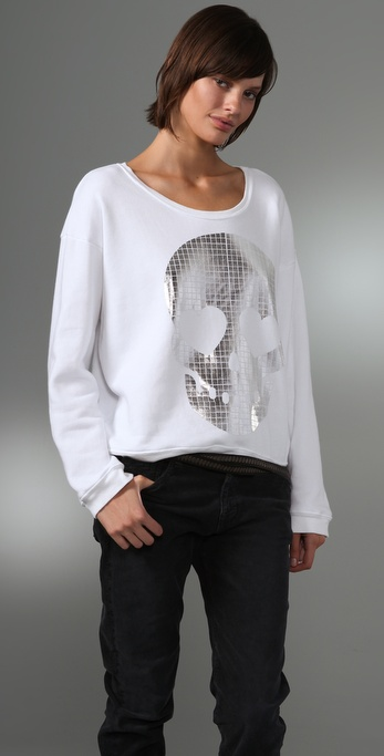 Wildfox Metal Skull Oversized Sweatshirt