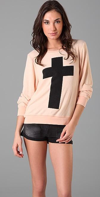 Wildfox Simple Cross Baggy Beach Sweatshirt