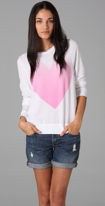 Wildfox Big Pink Heart Beach Sweatshirt