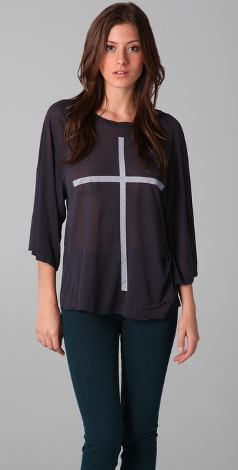 Wildfox Skinny Cross Raglan Top