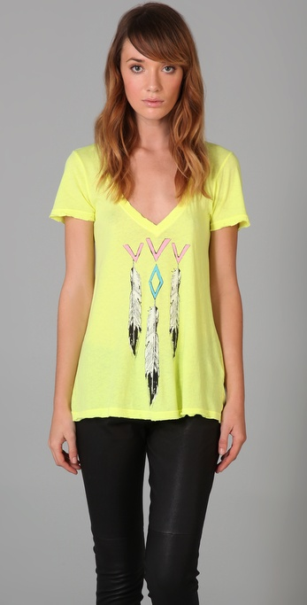 Wildfox Night Lover Feathers Tee