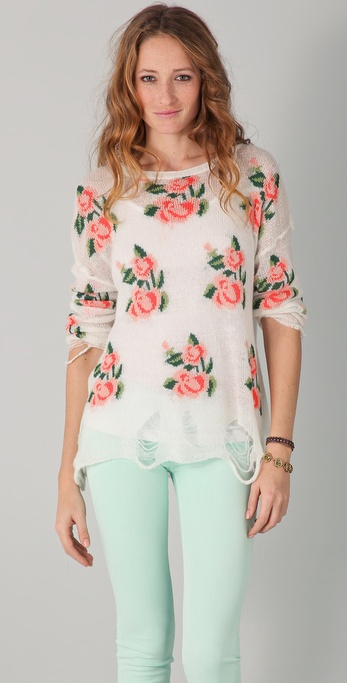 Wildfox Wildfox White Label Prairie Rose Sweater