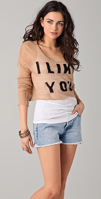 Wildfox Wildfox White Label Crush Cropped Sweater