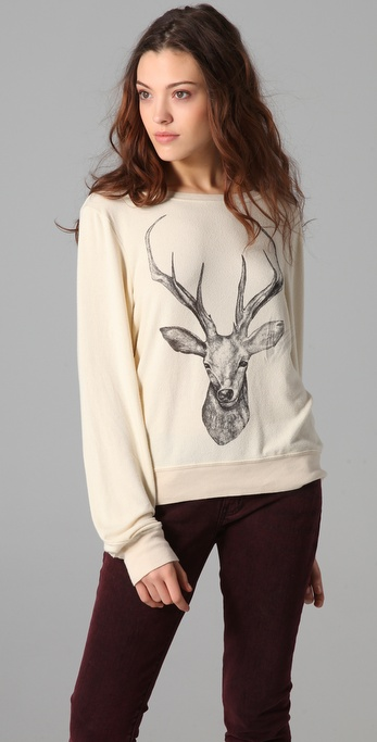 Wildfox Stag Baggy Beach Sweatshirt