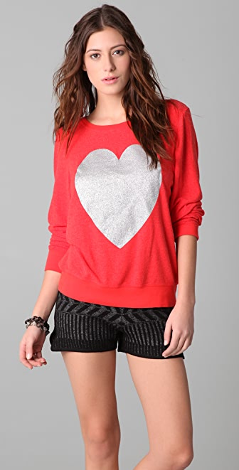 Wildfox Silver Sparkle Heart Baggy Beach Sweatshirt