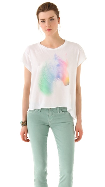 Wildfox Horse and Rainbow Jagged Edge Tee
