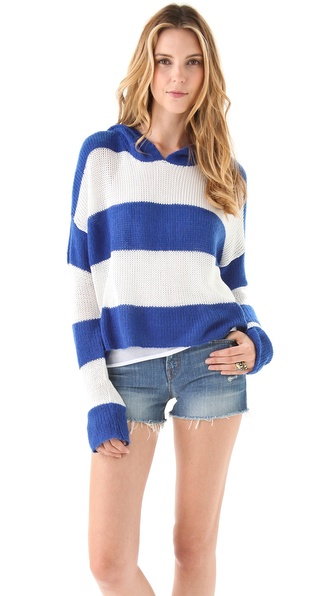 Wildfox Rugby Stripe Hooded Sweater