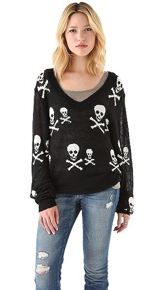 Wildfox Knight Hood V Neck Sweater