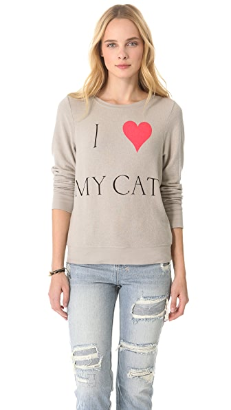 Wildfox I Love My Cat Baggy Beach Sweatshirt