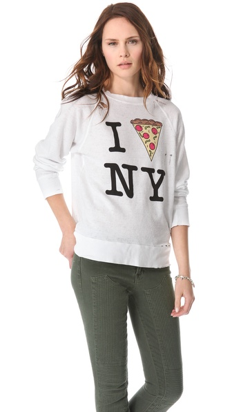 Wildfox N.Y. Slice Destroyed Sweatshirt