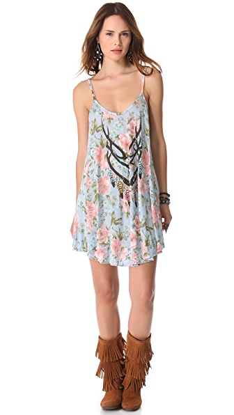 Wildfox Antler Feathers Slip Dress