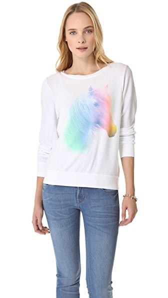 Wildfox Horse & Rainbow Baggy Beach Sweatshirt