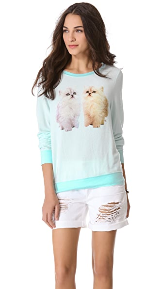 Wildfox Magical Cats Baggy Beach Sweatshirt