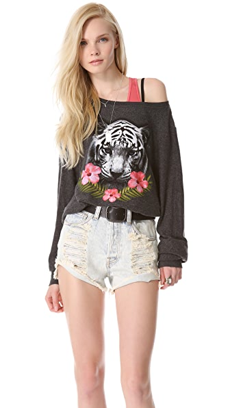 Wildfox Tropical Tiger Baggy Beach Sweatshirt
