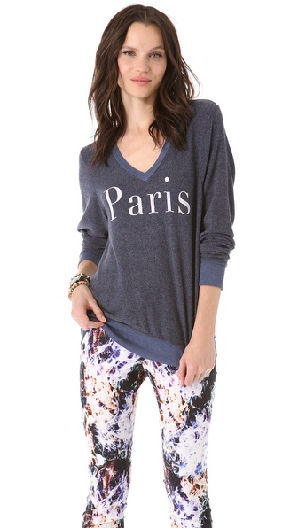 Wildfox Paris Beach V Neck Sweatshirt