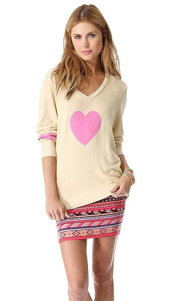 Wildfox Happy Heart Baggy Beach Sweatshirt
