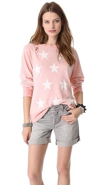 Wildfox Starshine Destroyed Sweatshirt