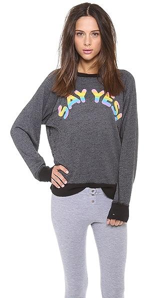 Wildfox Say Yes Destroyed Sweatshirt