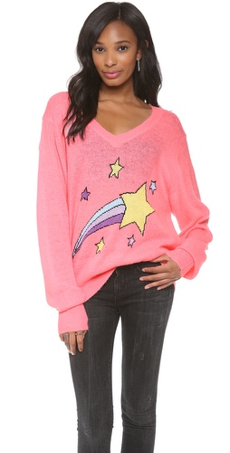 Wildfox Shooting Star V Neck Sweatshirt