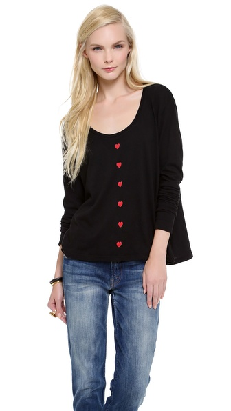 Wildfox Heart Buttons Long Sleeve Tee
