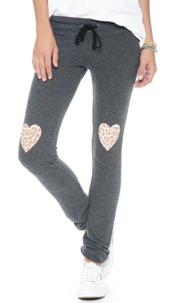 Wildfox Leopard Heart Sweatpants