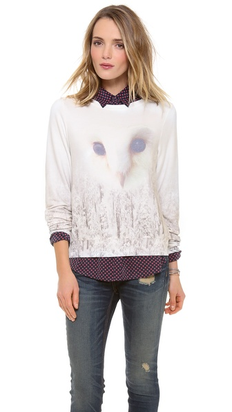 Wildfox Snowy Forest Owl Baggy Beach Sweatshirt