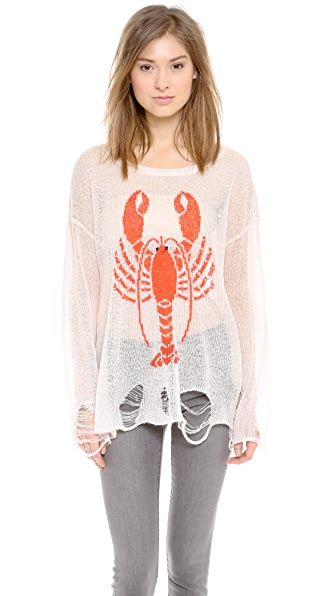 Wildfox Lobster Loose Knit Sweater