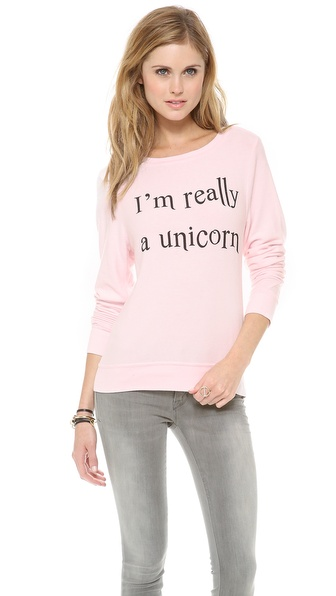 Wildfox I'm Really A Unicorn Baggy Beach Sweatshirt