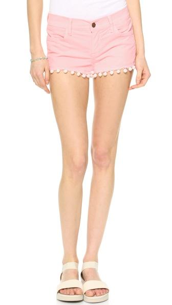 Wildfox Lara Mid Rise Cutoff Shorts with Pom Poms