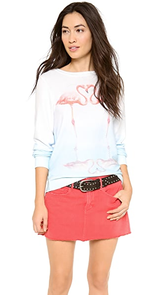 Wildfox Flamingo Love Baggy  Beach Jumper