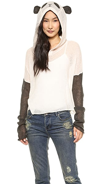 Wildfox Panda Face Hooded Sweater
