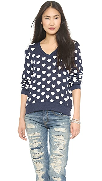 Wildfox Little Hearts Baggy Beach Sweatshirt