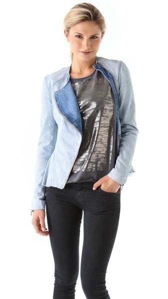 Willow Denim Jacket with Asymmetrical Zip
