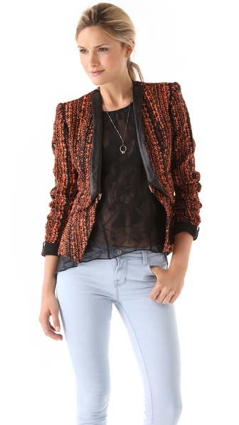 Willow Woven Tuck Jacket with Leather Trim