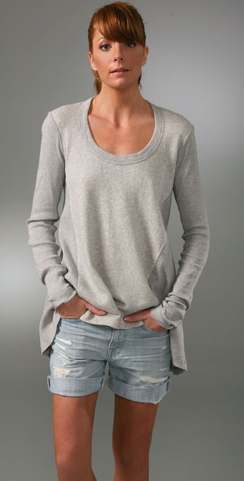 Wilt Distressed Vintage Fleece Hi Lo Top
