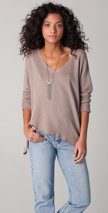Wilt Raw Crop V Neck Pullover