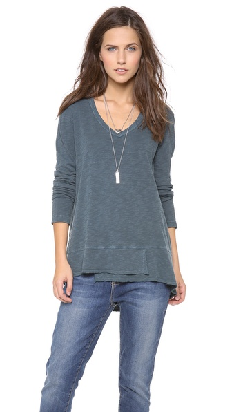 Wilt Long Sleeve V Neck Slouchy Tee