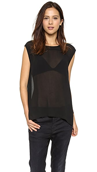 Wilt Woven Paneled Uneven Shell Top
